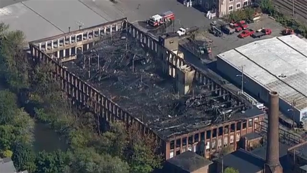 [NECN] AERIAL VIDEO: Aftermath of 7-Alarm Mill Fire