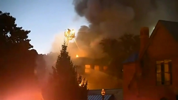 [NECN] Crews Battle 4-Alarm Fire at Former School