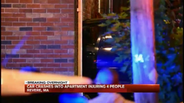 [NECN] Car Crashes Into Apartment Building, Injuring 4