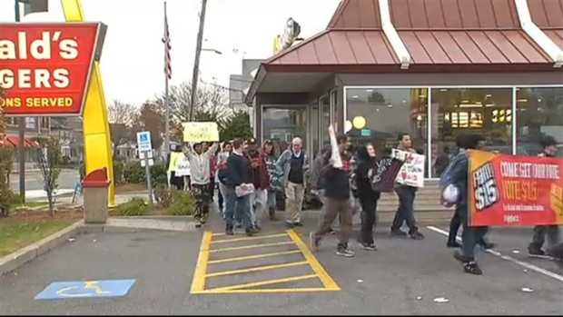 Fast Food Workers Protest in Boston
