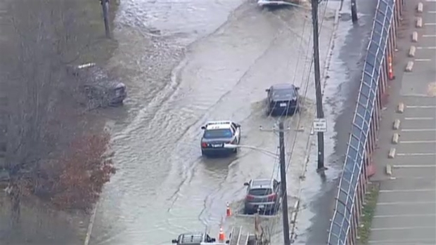 VIDEO: Cars Drive on Flooded Revere Beach Parkway