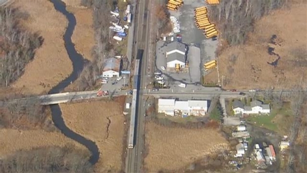 AERIAL FOOTAGE: Train, Vehicle Crash