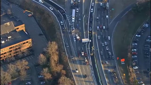[NECN]AERIAL FOOTAGE: Box Truck Crash Causes Major Traffic Delays