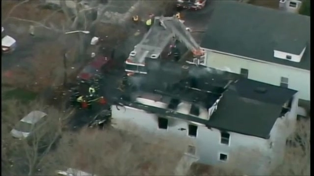 [NECN] AERIAL FOOTAGE: 4 Dead, 2 Residents Injured in 3-Alarm Fire