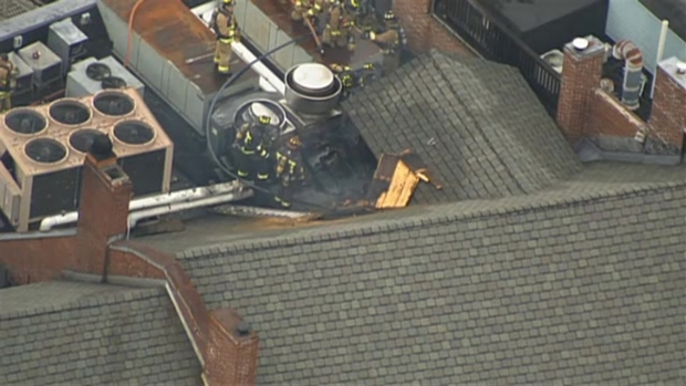 AERIAL VIDEO: Crews Battle Roof Fire