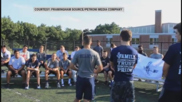 [NECN] Framingham Football Players Support Coaches Amid Player's Injuries