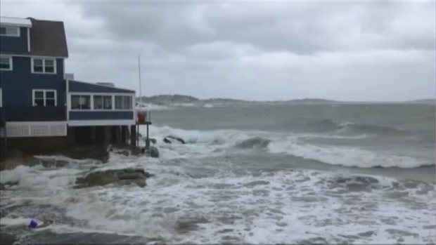 Gunrock Beach in Hull, Mass. Slammed by Waves