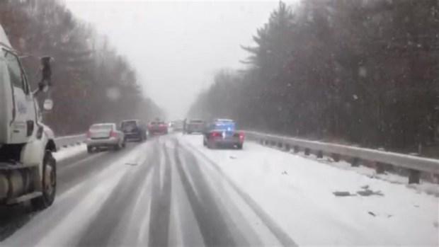 Vehicles Crash on Slick Rte. 3 Roads