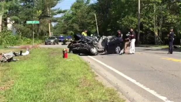 [NECN] Car and School Bus Crash in Mendon, Mass.