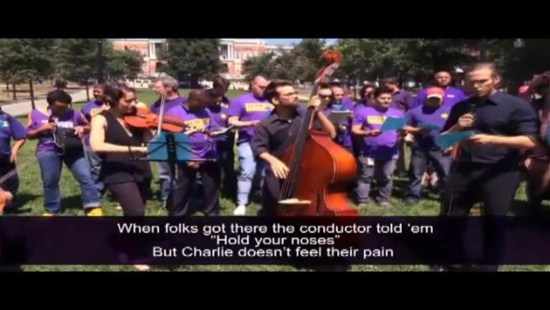 [NECN] MBTA Janitors Protest Cuts With Parody Song