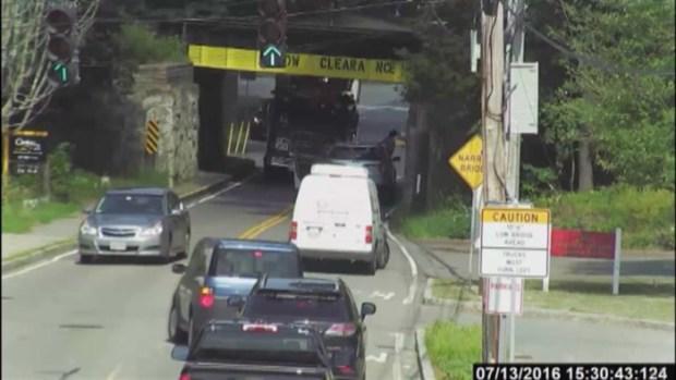[NECN] Fire Truck Crashes into Bridge in Westwood, Mass.