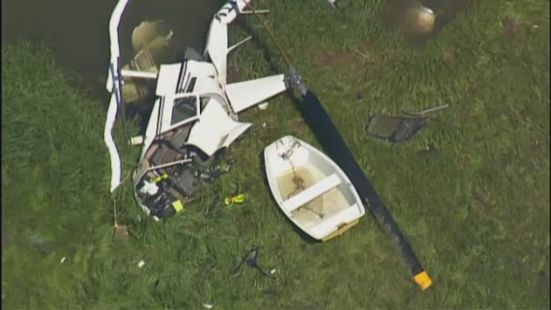 [NECN] AERIAL FOOTAGE: Helicopter Crashes on Cape Cod
