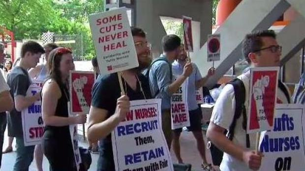[NECN] Nurses Picket Outside of Tufts Medical Center
