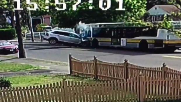 [NECN] Surveillance Video Shows Head-On Crash Involving Bus, SUV