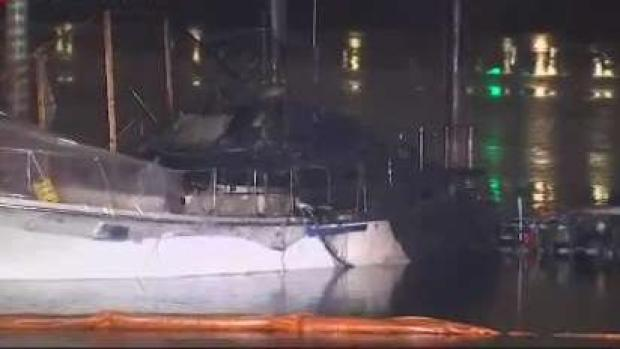 [NECN] Three Charlestown Boats Destroyed by Fire
