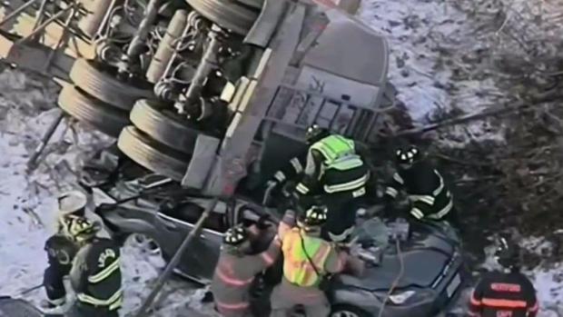 [NECN] Tractor-Trailer Lands on Vehicle on I-495