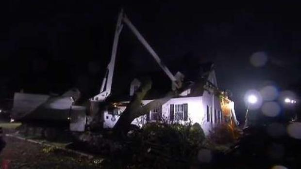 [NECN] Tree Falls on House During Nor'easter Storm
