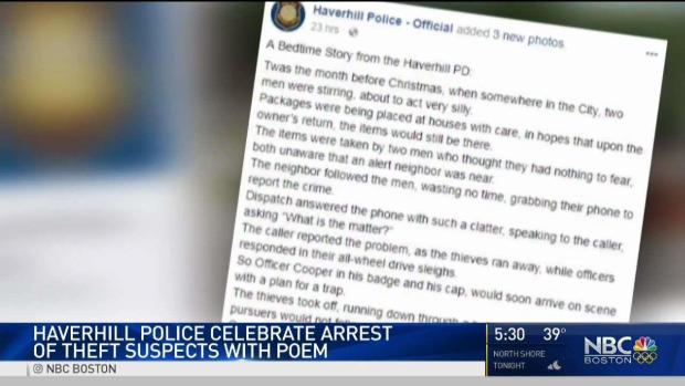 [NECN] Police Celebrate Arrest of Theft Suspects With Poem