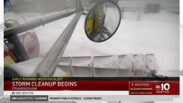 [NECN] Snow Cleanup Begins in Mass.