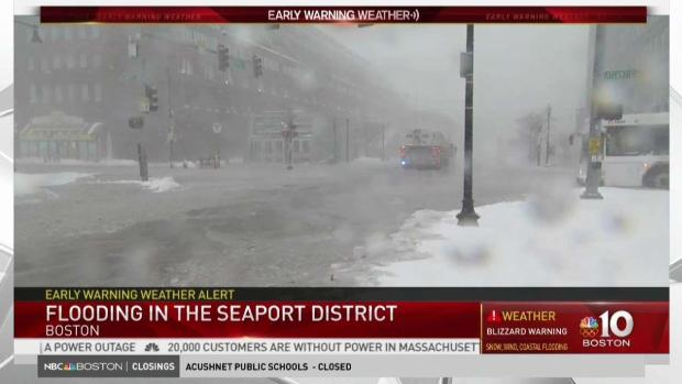 Roads Flooded in Boston's Seaport District