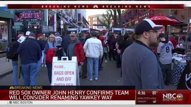 [NECN] Red Sox Want to Change Name of Yawkey Way