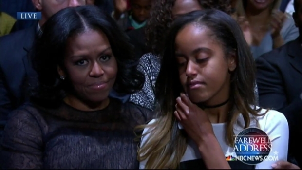 [NATL-CHI] With Pride, Obama Thanks Daughters Sasha and Malia