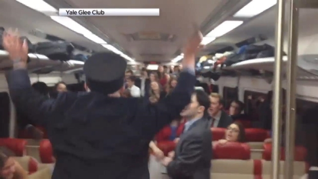 Glee Club Serenades Metro-North Train