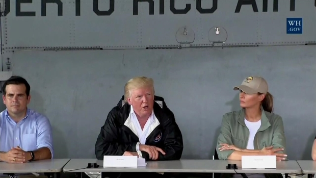 Trump Visits Hurricane Victims, Aid Workers in Puerto Rico