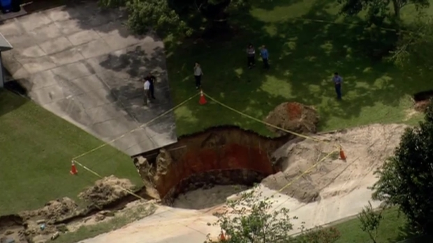 RAW VIDEO: Sinkhole Opens in Central Florida