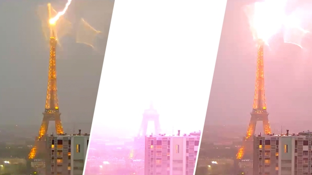 [NATL] Caught on Cam: Lightning Strikes the Eiffel Tower