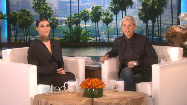 [NATL] 'Ellen': Kim Kardashian Talks Baby Names, Kanye for President