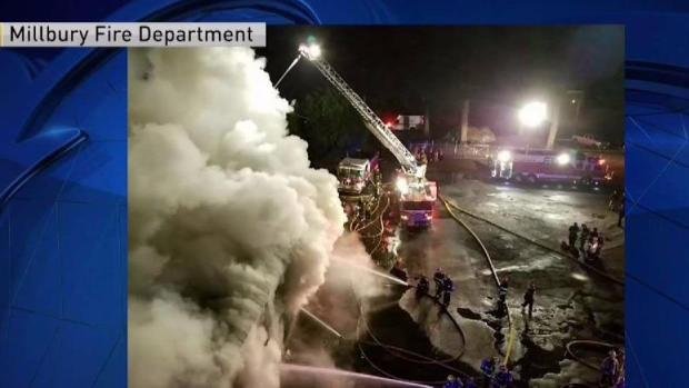 [NECN] 3-Alarm Fire Damages Commercial Building in Millbury, Massachusetts