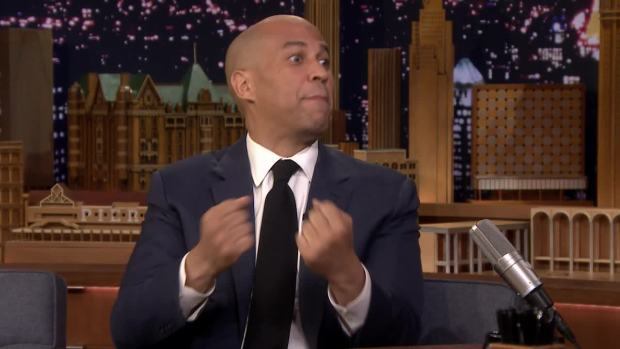 [NATL] 'Tonight': Cory Booker Explains His Famous 'Bring It' Moment