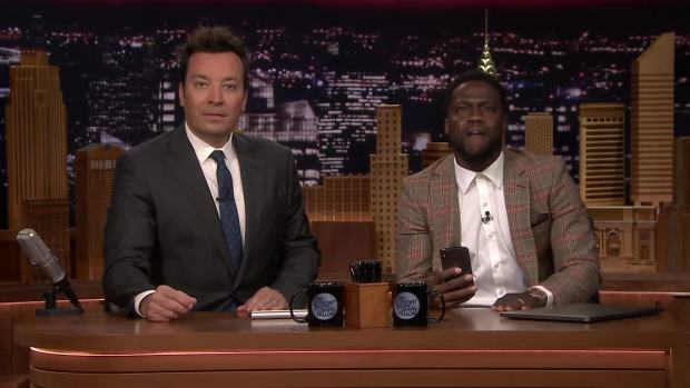 [NATL] 'Tonight': Kevin Hart FaceTimes Dwayne Johnson While Co-Hosting