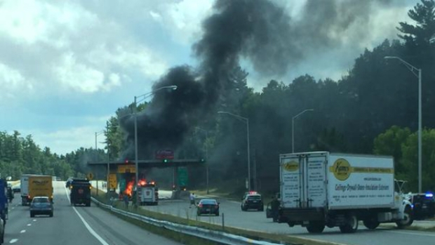 Vehicle Crashes Into Toll Booth, Bursts Into Flames