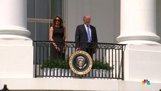 [NATL] President Trump Glimpses at Solar Eclipse Before Donning Eclipse Safety Glasses