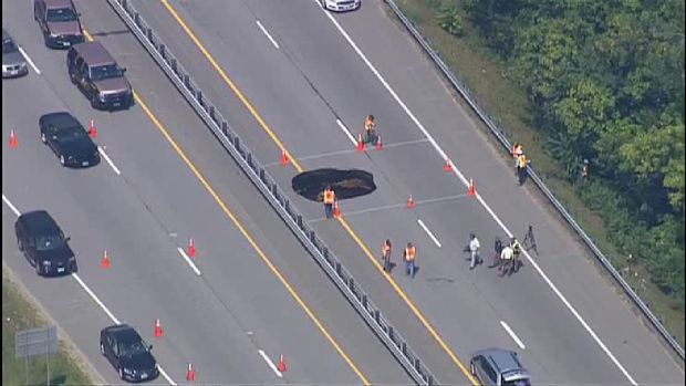 Massive Sinkhole Closes Highway