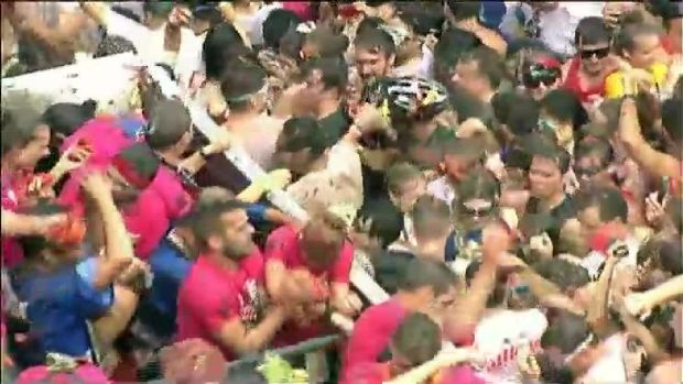 Tomato Fight Leaves Town Red
