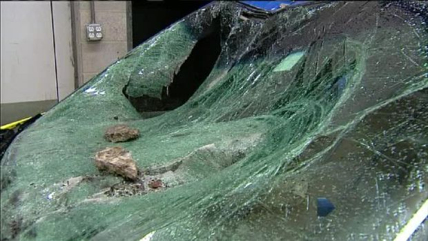 Huge Chunk of Concrete Crashes Through Windshield