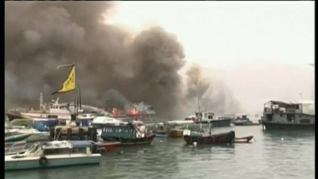 Flames Rip Through Small Fishing Boats