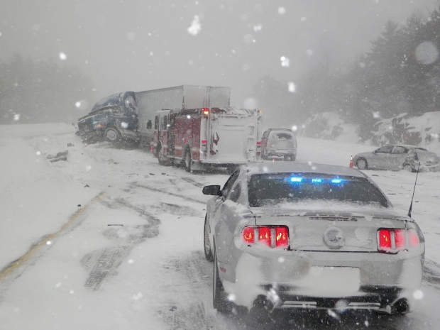 Snow Causes Crashes, Spinouts