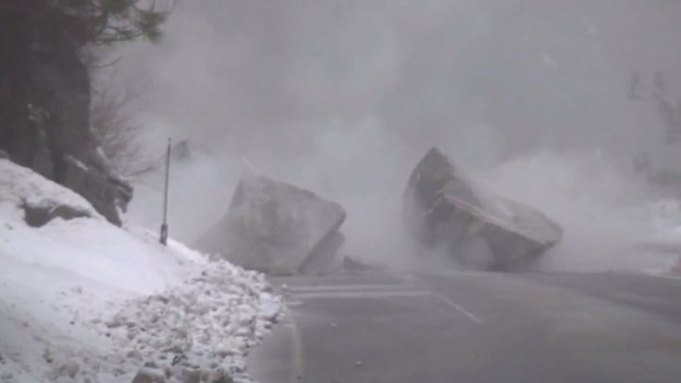 Caltrans Blows Up Boulder Blocking Highway 50