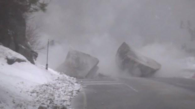 Caltrans Blows Up Boulder Blocking Highway 50