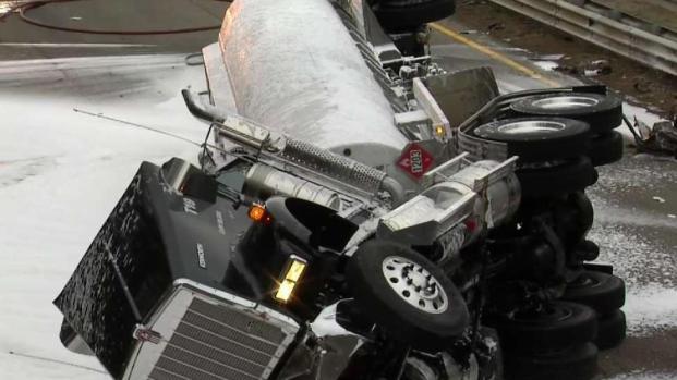 [NECN] 1 Dead, 1 Injured in Gas Tanker Rollover in Fall River