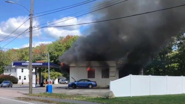 [NECN] 1 Hurt in Huge Mansfield Gas Station Fire