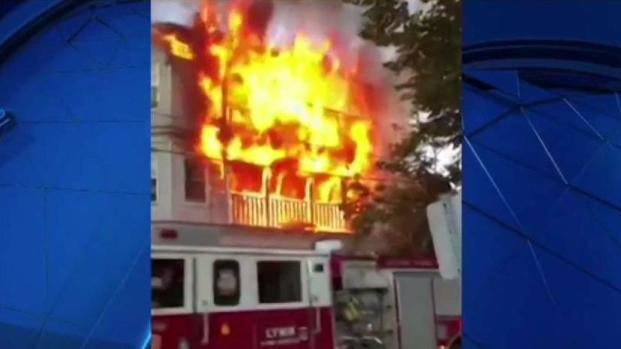 [NECN] 3-Alarm Fire Destroys Home in Lynn