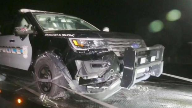 [NECN] Car Crashes Into Yarmouth Police Cruiser