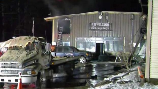 [NECN] Crews Battle Massive Salvage Yard Fire in Pepperell