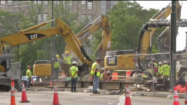 [NECN] Day 2 of Comm. Ave Bridge Demolition