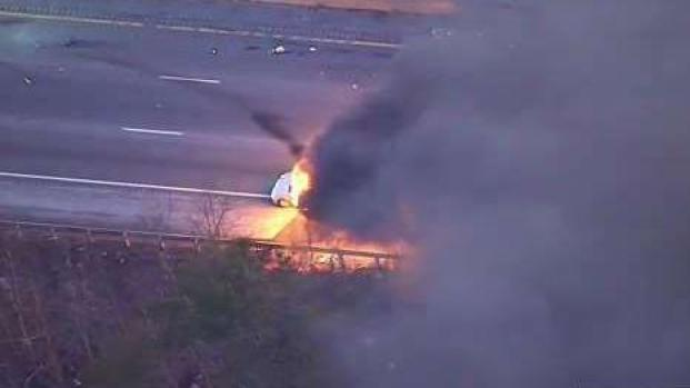 [NECN] Fiery Crash on Route 24 South in West Bridgewater